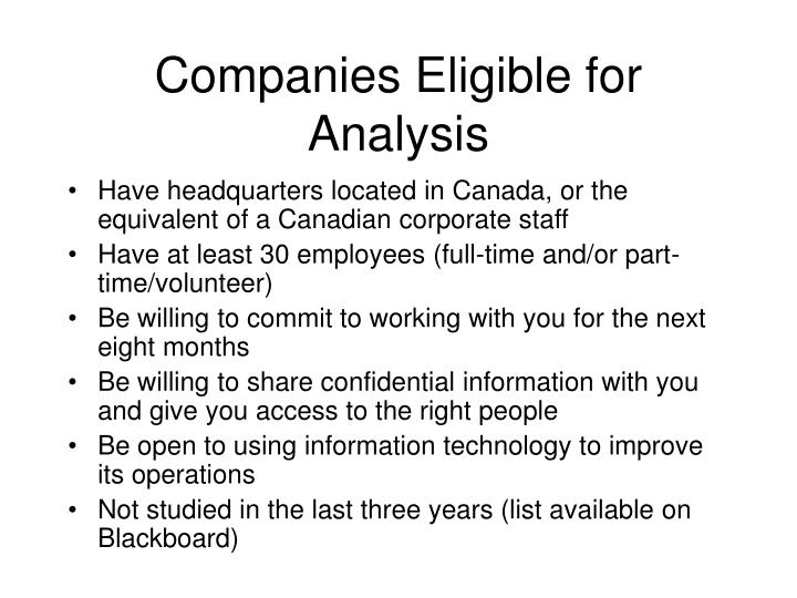 Companies Eligible for Analysis