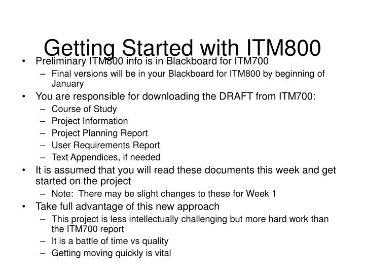 Getting Started with ITM800