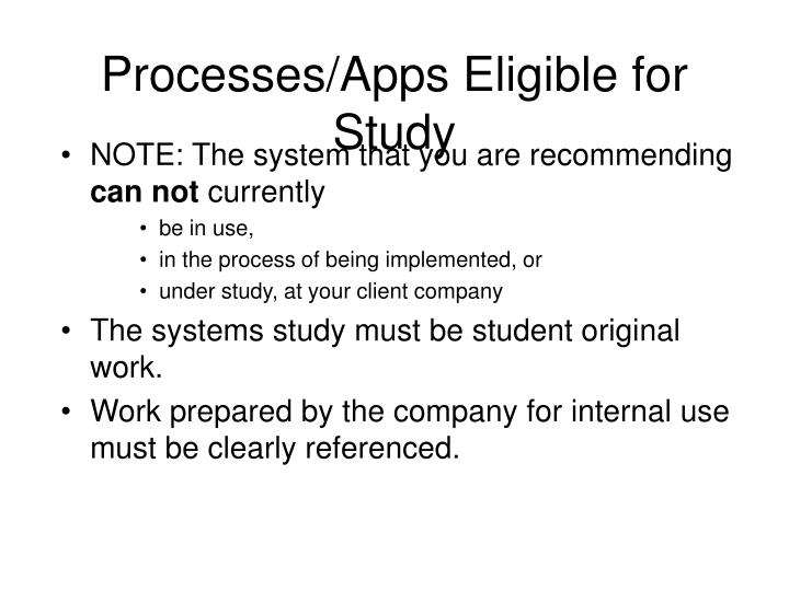 Processes/Apps Eligible for Study