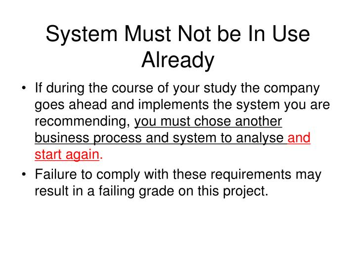 System Must Not be In Use Already