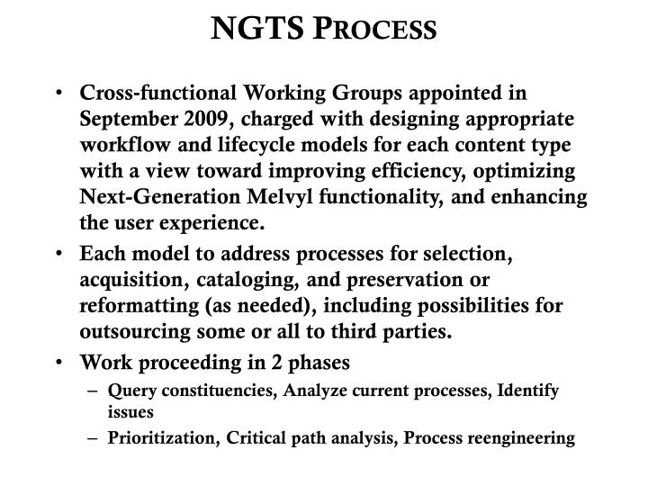 NGTS Process