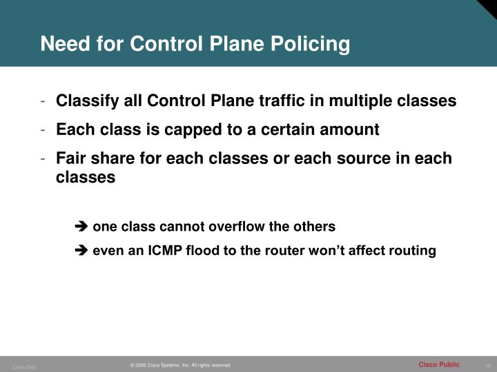 Need for Control Plane Policing
