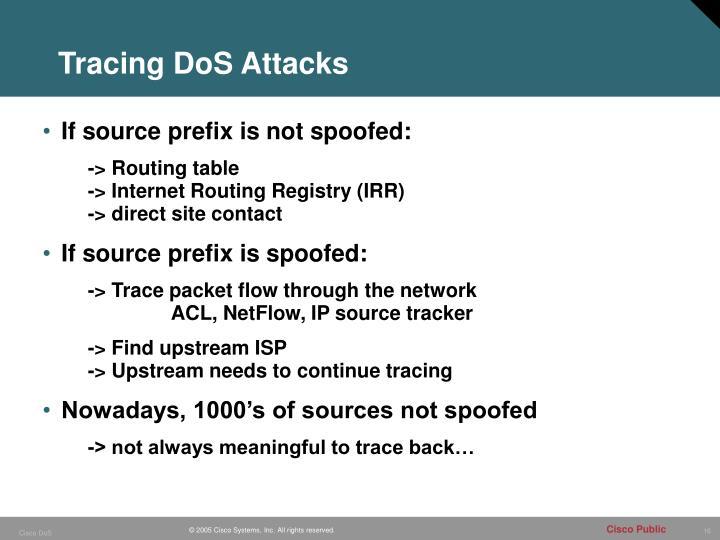 Tracing DoS Attacks