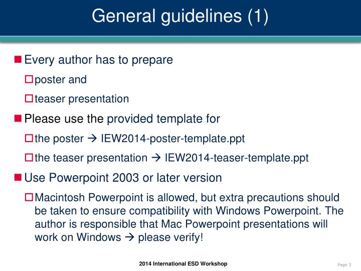 General guidelines 1