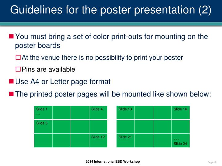 Guidelines for the poster presentation (2)