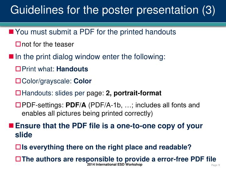Guidelines for the poster presentation (3)