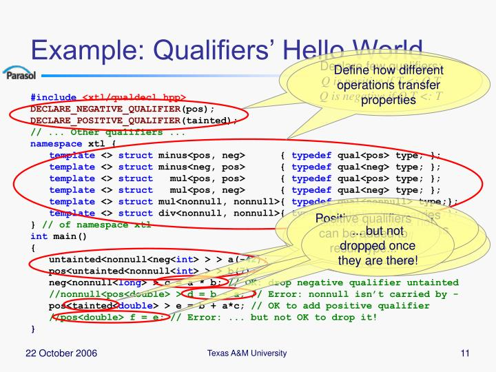 Example: Qualifiers' Hello World