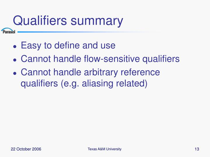 Qualifiers summary