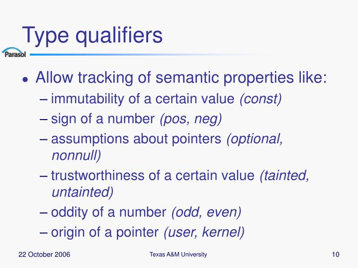 Type qualifiers