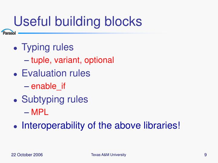 Useful building blocks
