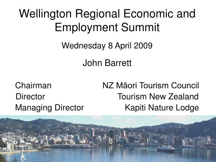wellington regional economic and employment summit n.