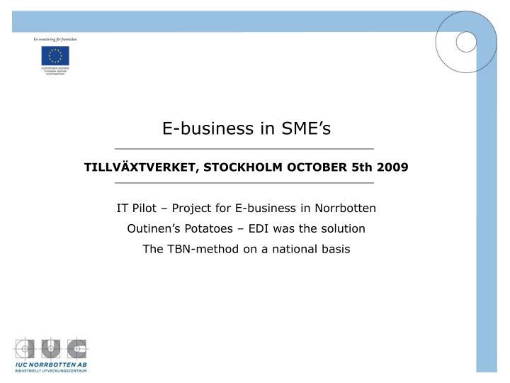 E-business in SME's