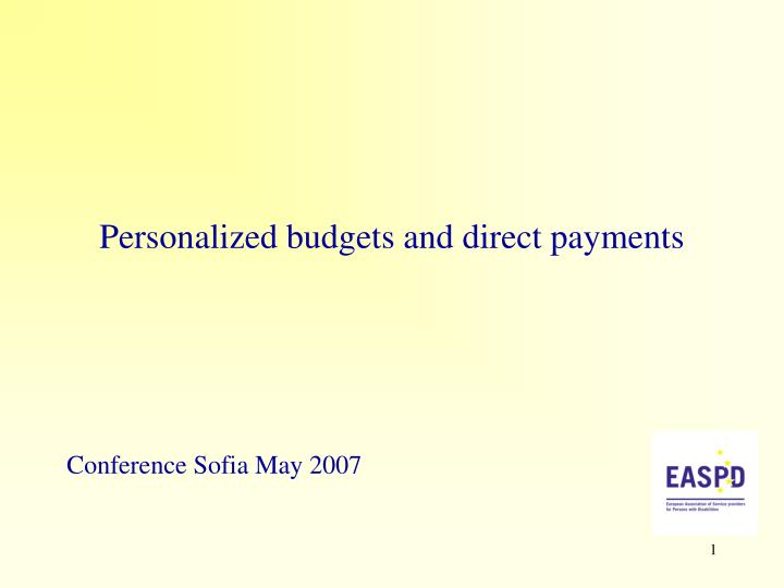 personalized budgets and direct payments n.
