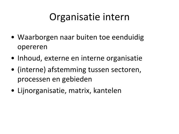 Organisatie intern