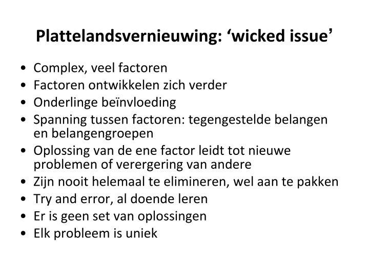 Plattelandsvernieuwing: 'wicked issue