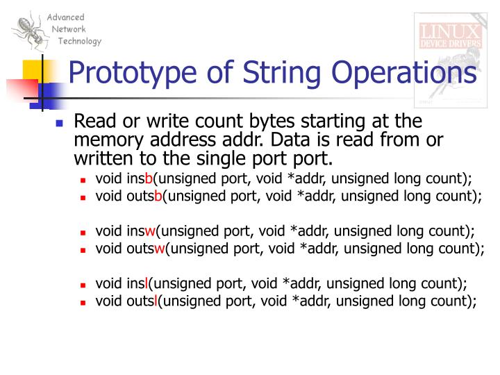 Prototype of String Operations