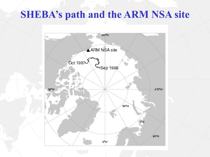 SHEBA's path and the ARM NSA site