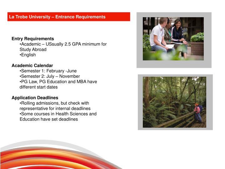 La Trobe University – Entrance Requirements