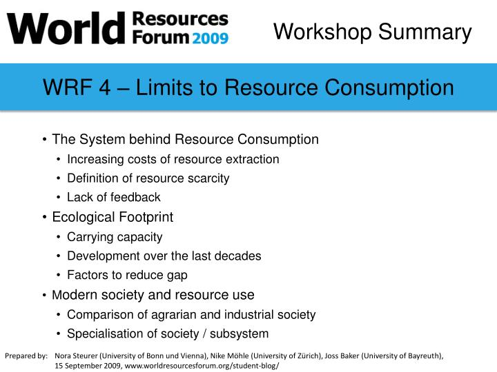 WRF 4 – Limits to Resource Consumption