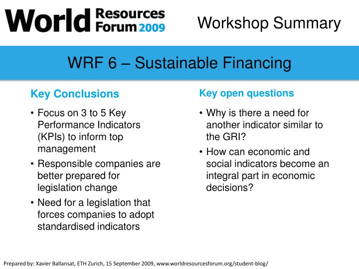 WRF 6 – Sustainable Financing