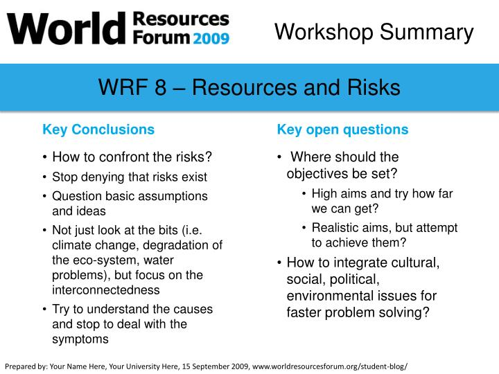 WRF 8 – Resources and Risks
