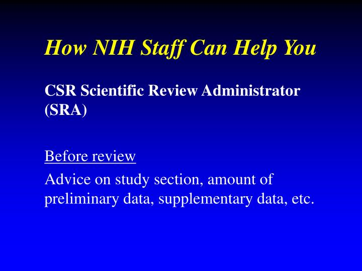 How NIH Staff Can Help You