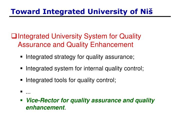 Toward Integrated University of Ni