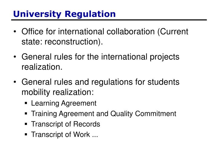 University Regulation