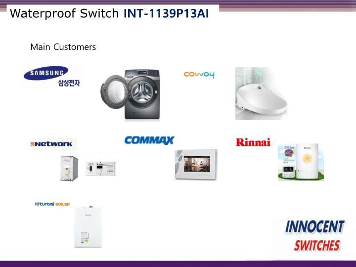 Waterproof switch int 1139p13ai1