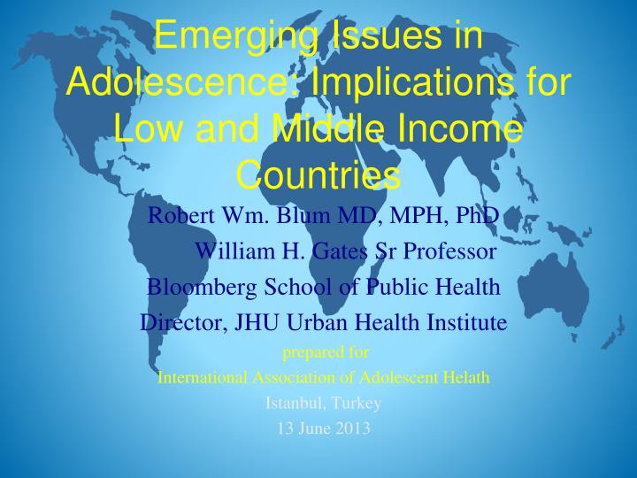 emerging issues in adolescence implications for low and middle income countries n.