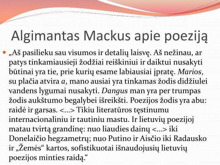 Algimantas Mackus apie poeziją