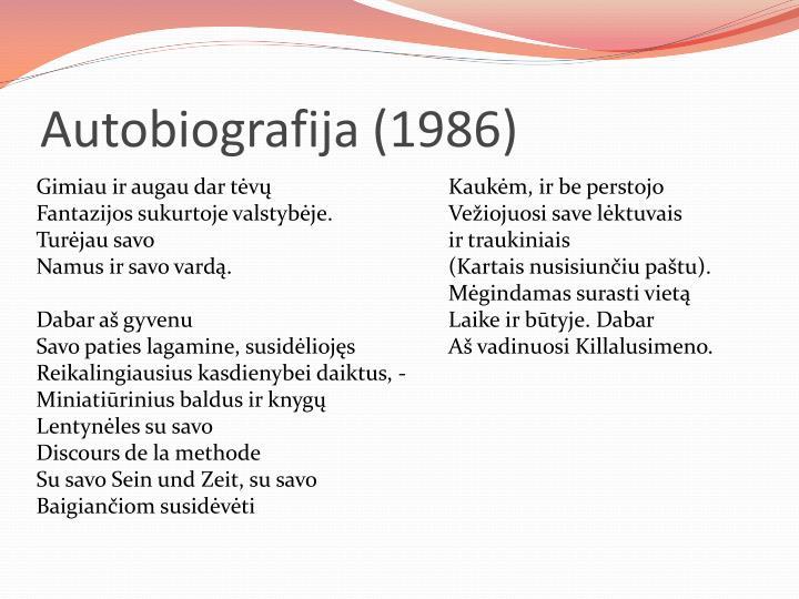 Autobiografija (1986)