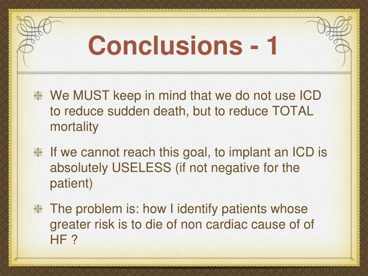 Conclusions - 1