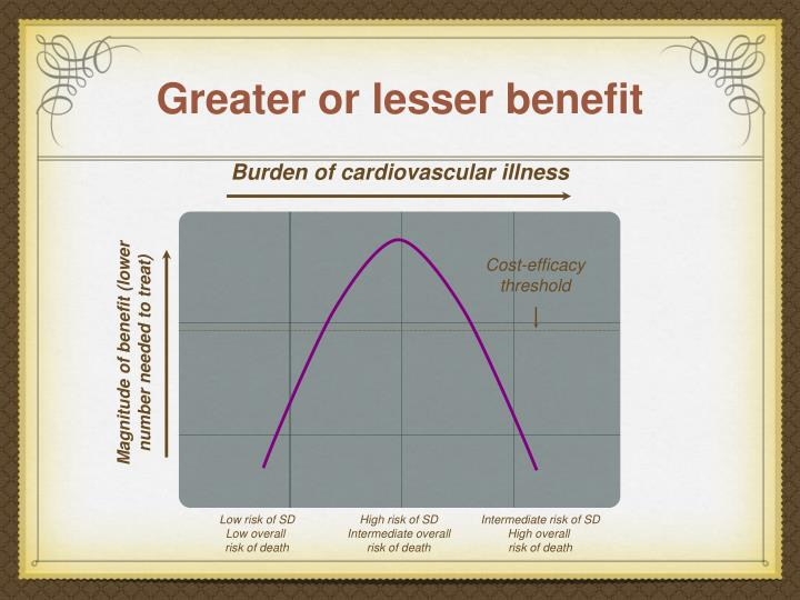 Greater or lesser benefit