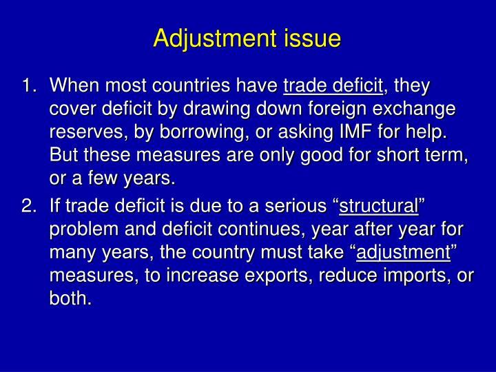 Adjustment issue