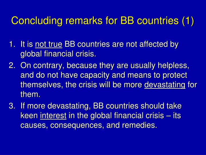Concluding remarks for BB countries (1)