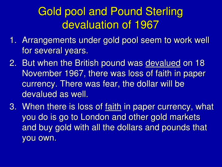 Gold pool and Pound Sterling devaluation of 1967