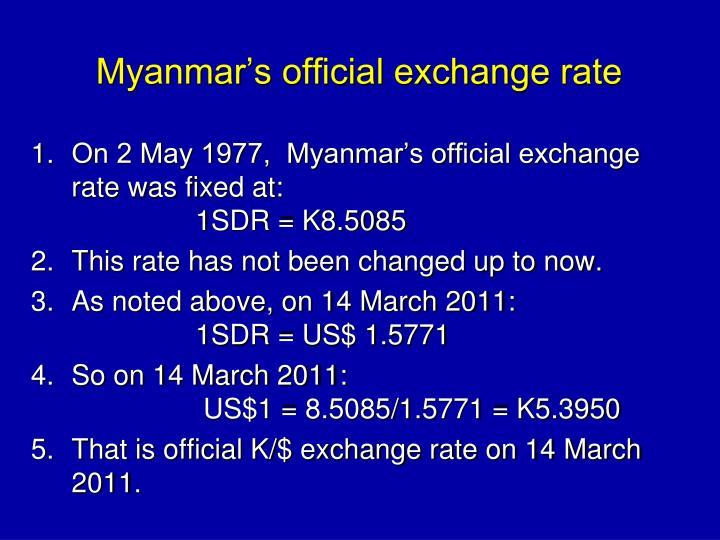 Myanmar's official exchange rate