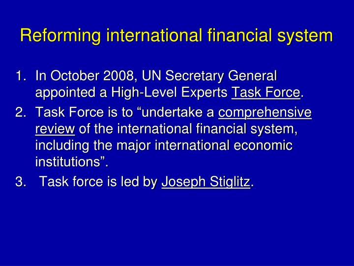 Reforming international financial system