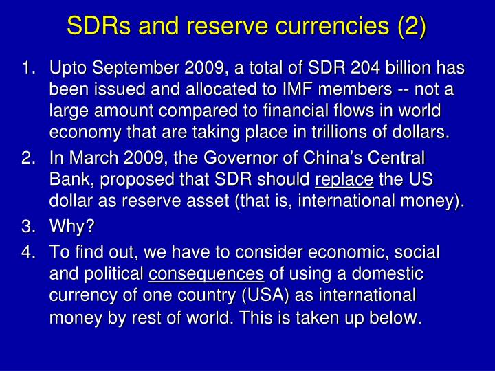 SDRs and reserve currencies (2)