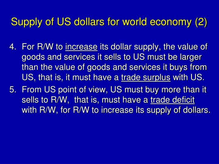Supply of US dollars for world economy (2)