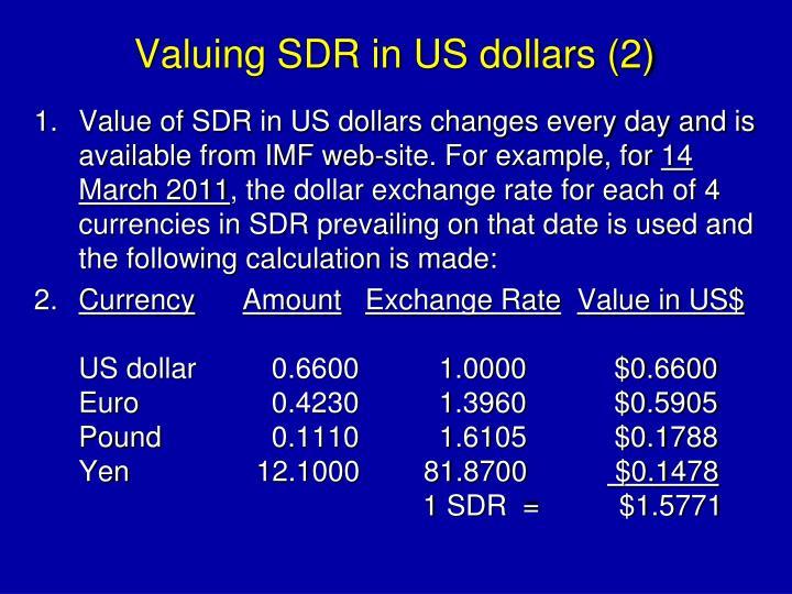 Valuing SDR in US dollars (2)