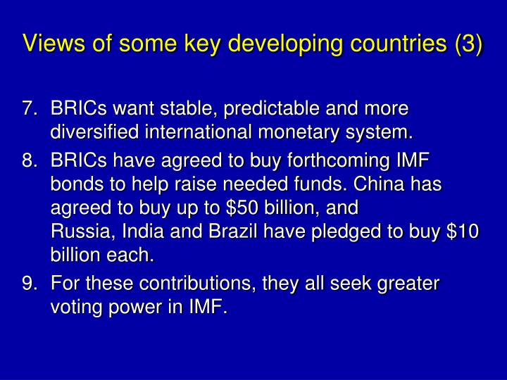 Views of some key developing countries (3)