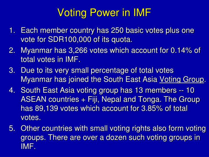 Voting Power in IMF