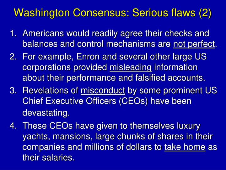 Washington Consensus: Serious flaws (2)