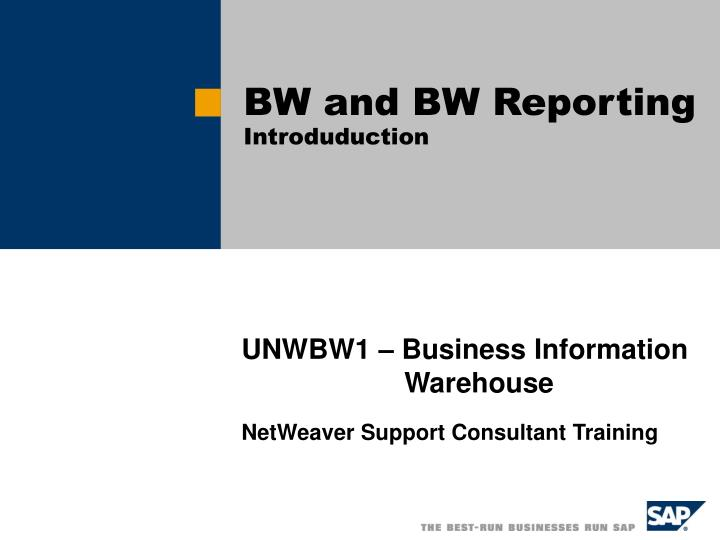 bw and bw reporting introduduction n.