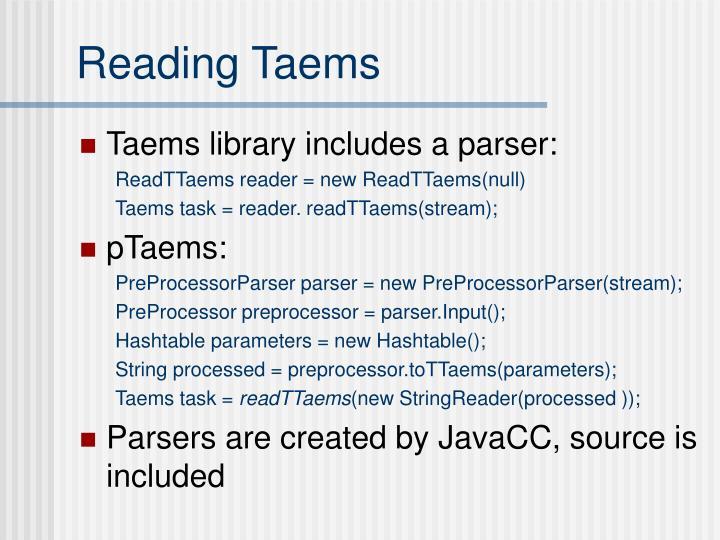 Reading Taems