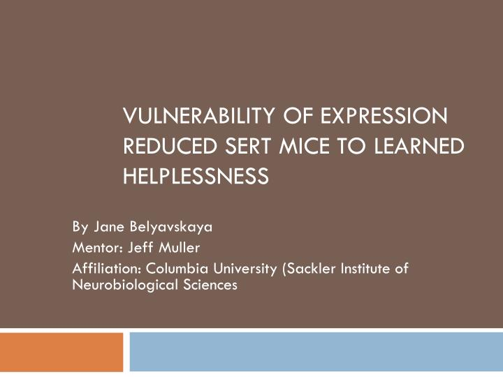 Vulnerability of expression reduced sert mice to learned helplessness