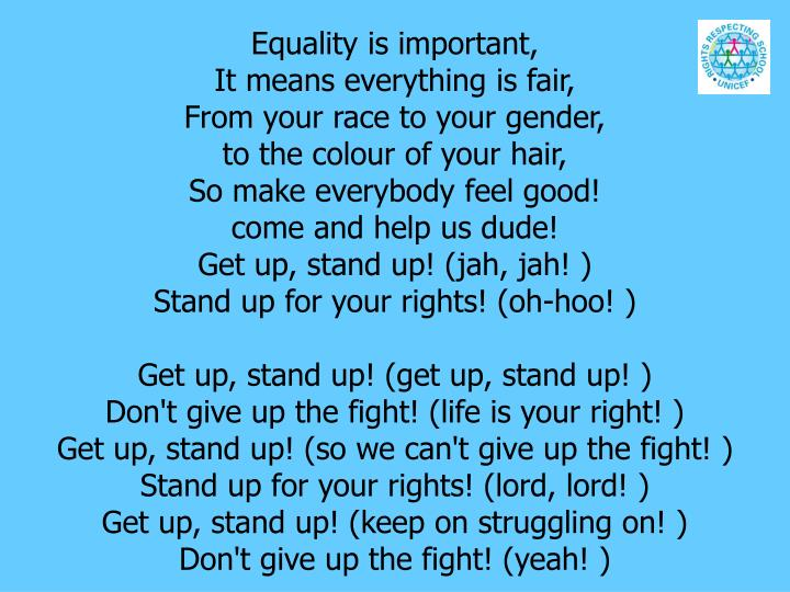 Equality is important,