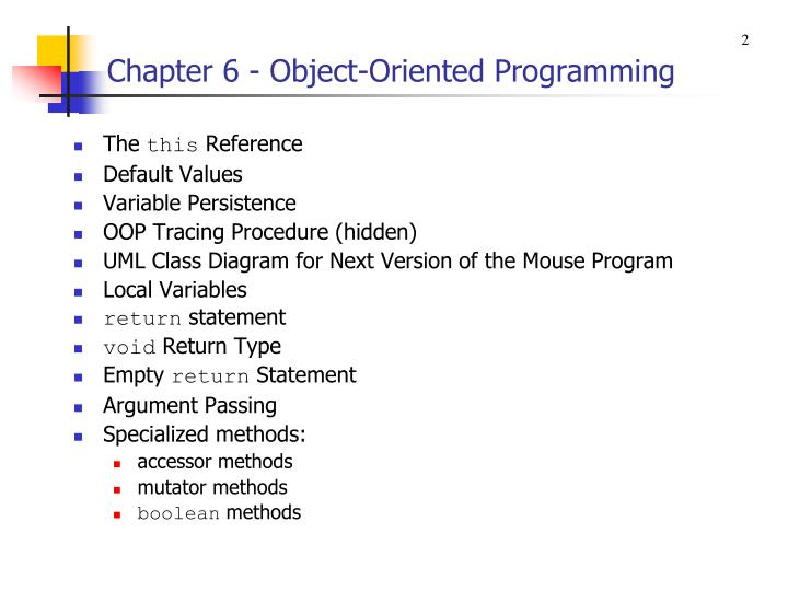 Chapter 6 object oriented programming1